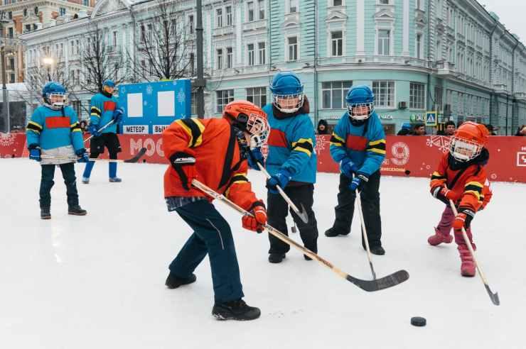 photo of kids playing hockey